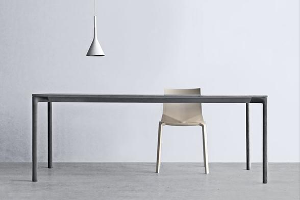able from the 100% al system by Ross Lovegrove. The top is made from shaped aluminum metal pressed in a special way
