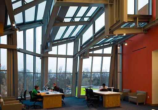 The modern design of Lewis Library – view from inside.