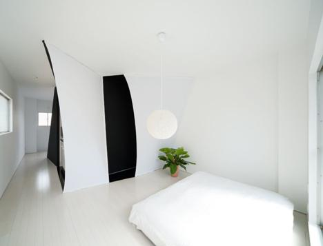 The interior in the bedroom in the apartment, situated in central Tokyo.