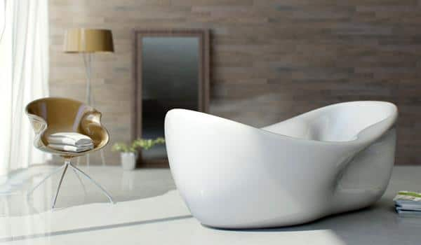 The white bathtub is made by the Nuvist designers