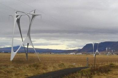 All of the pylons are situated in the fields of Iceland