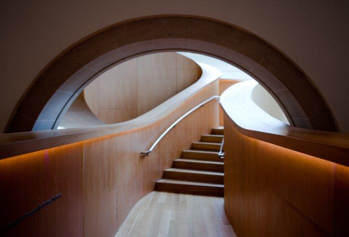 The modern design of the staircase.