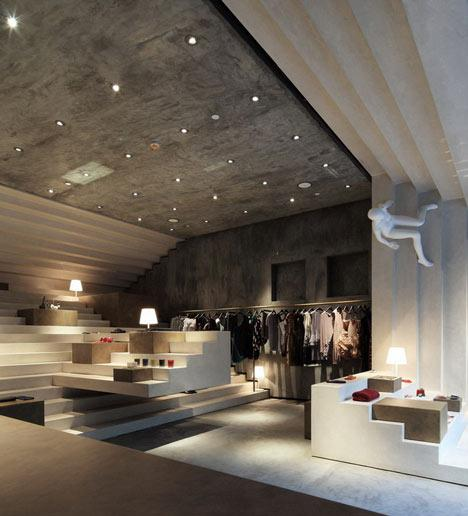 The modern interior of the Alter fashion boutique.