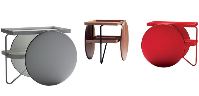 The modern design of a table on wheels.