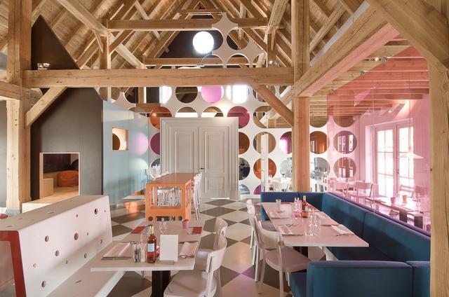 The contemporary interior of the restaurant
