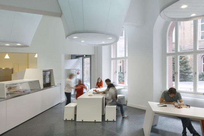 The school canteen is in really modern shape.