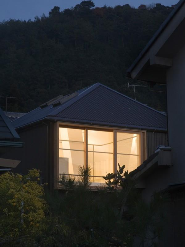 Outside view from a well designed small house in Kyoto