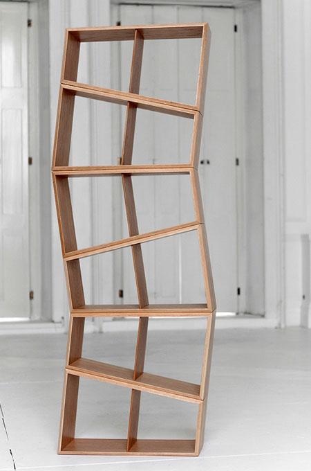 Flexible wooden bookshelf.