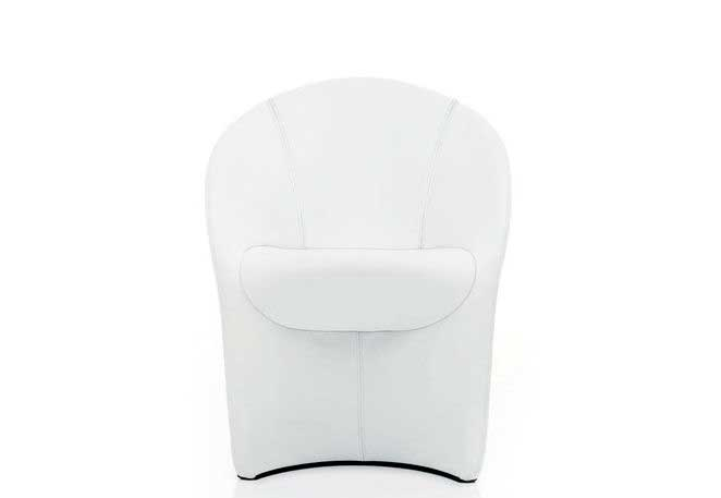White designer armchair.