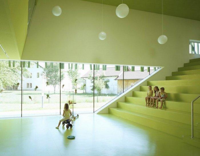 The ultra modern interior design in the Kindergaten provokes children's craetivity.