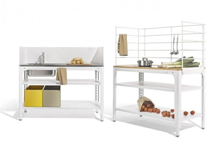 You can simply arrange all the kitchen elemens however you want.