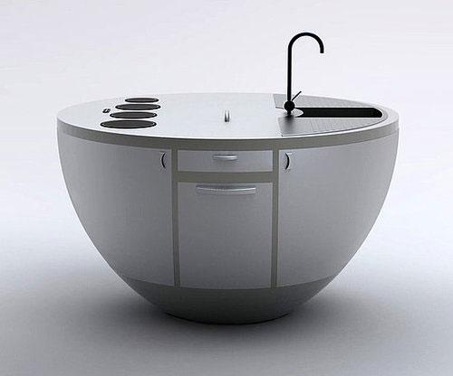 Mobile home kitchen sink and cabinet that rotates founterior soria by vitor xavier is a modern luxury kitchen workstation concept for small space workwithnaturefo
