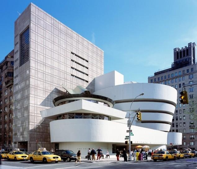 The modern architecture of the Guggenheim museum.