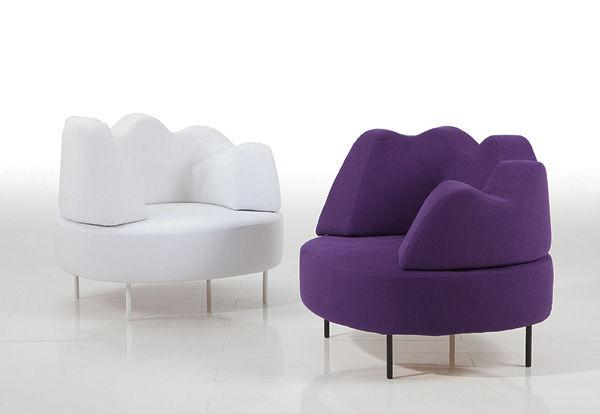 A set of two sofas in vivid colours.