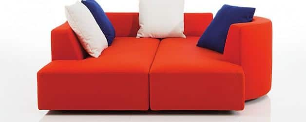 Two sofas combined in one.