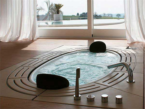 The modern bathroom can have a place for long lasting relaxing spa sessions.