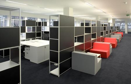 There are no classic office rooms. All the spaces are grouped according to the designer's mind.