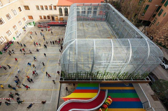 Basketball Schoolyard - Modern Schoolyard Playground with Sports Facilities
