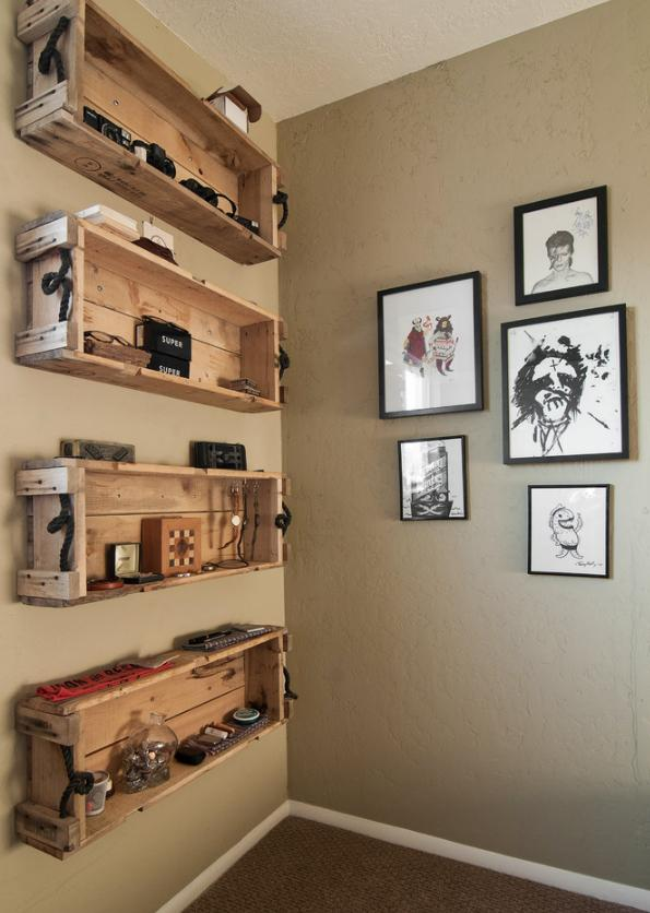 Creative Wooden Bookshelves - Eclectic Small Apartment Interior Design in SLC, USA