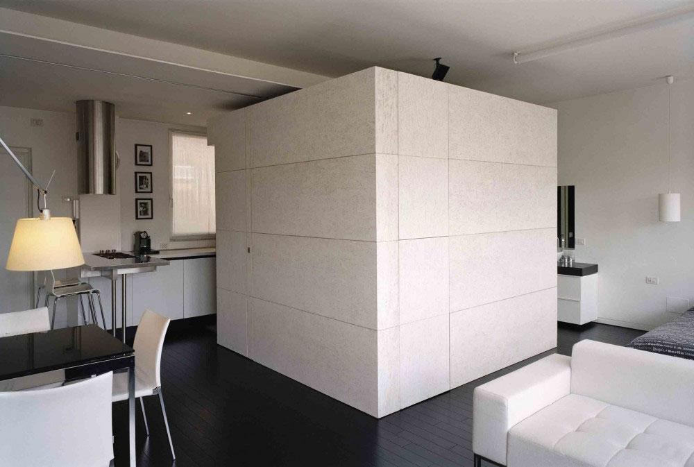 A cube as a part of the apartment interior design.