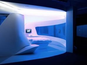 Futuristic hotel room interior designed by LAVA