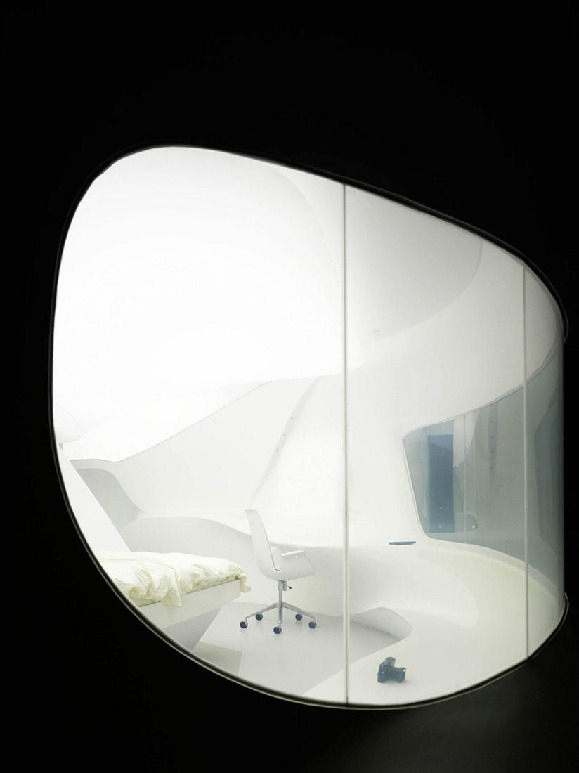 The hotel interior design consist of a lot of futuristic rooms.