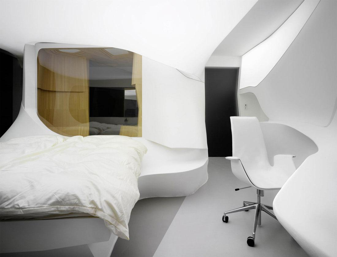 futuristic hotel room interior design by lava founterior. Black Bedroom Furniture Sets. Home Design Ideas