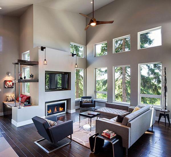 Living Room 01 - Breathtaking Eclectic Modern House in Oregon, USA
