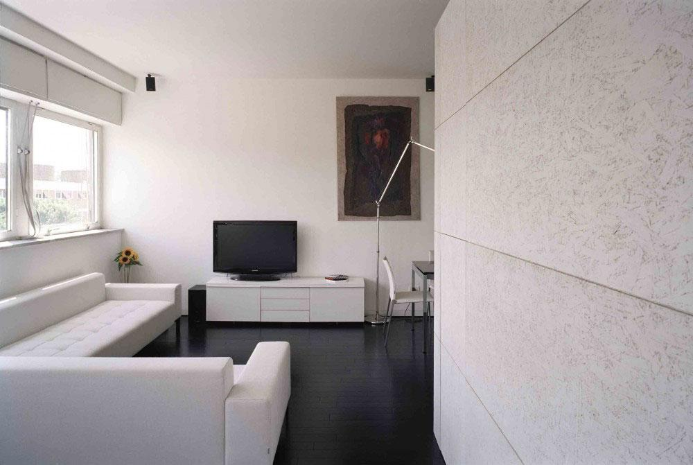 A view from the living room in the apartment interior design in Rome.