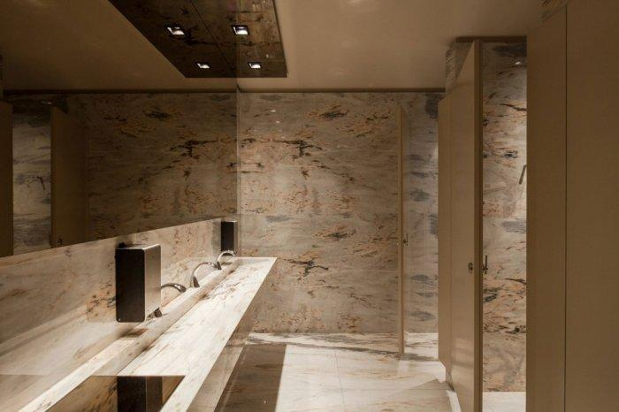 Marble Public Toilets - Modern Whiskey Bar Interior Design in Arquitectoss