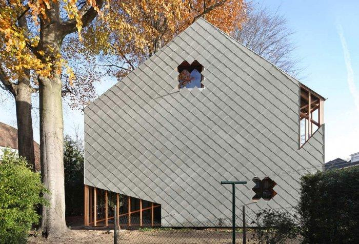 Modern Facade - Small Eco House Architectural Design in Gent, Belgium
