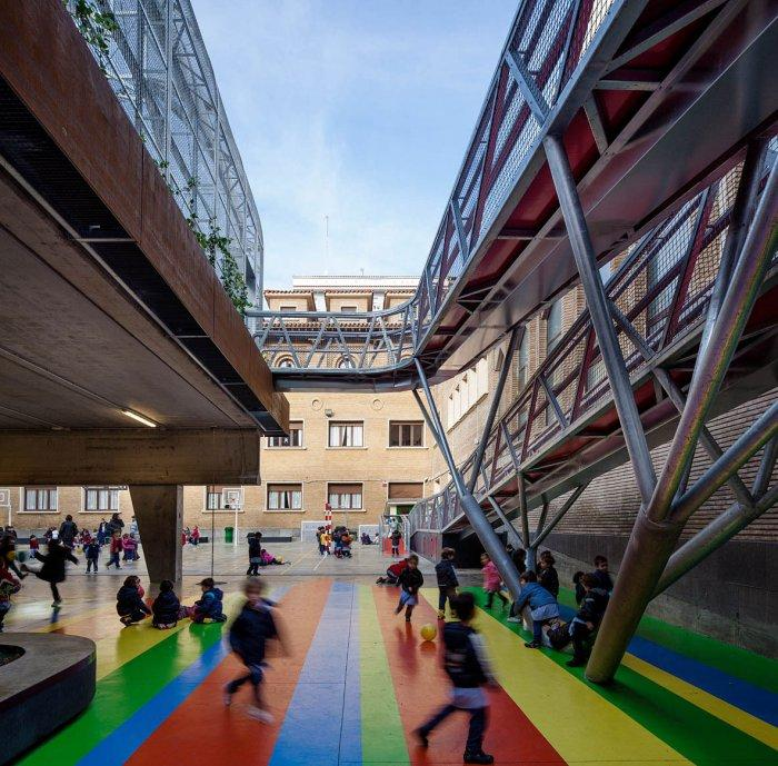 Modern Schoolyard Playground with Sports Facilities
