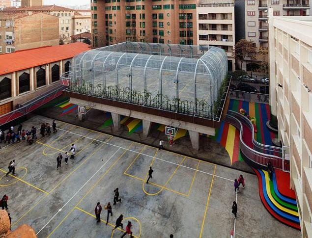 Modern Schoolyard Playground with Sports Facilities