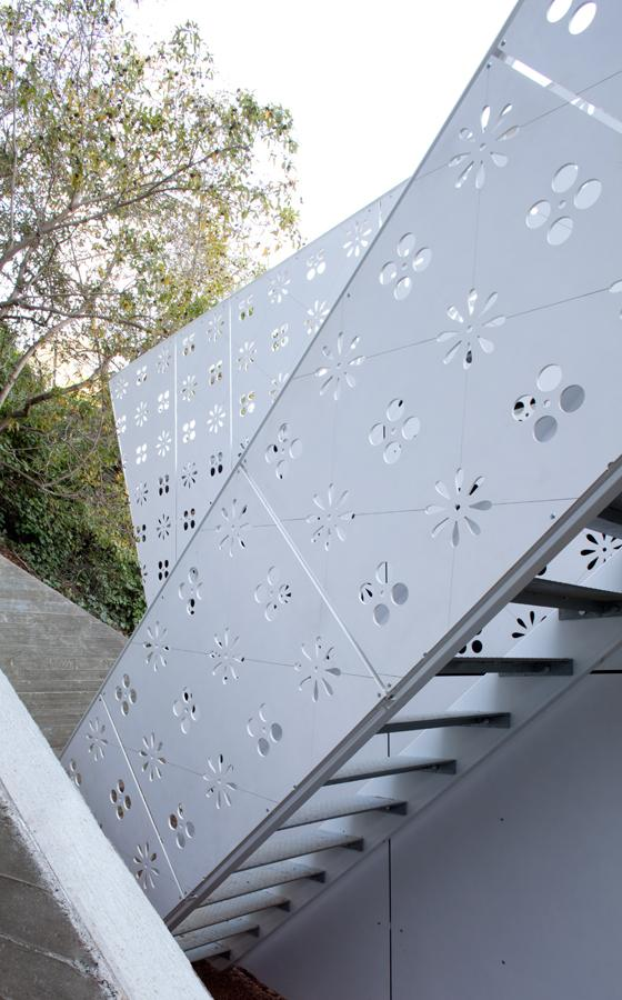 Outdoor Metal Stairs - Small House Design turned into a Modern Sound Studio