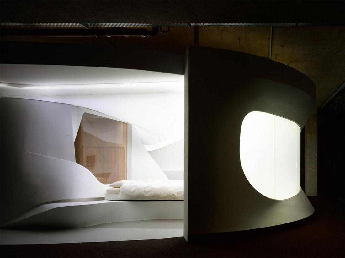 The main sleeping area in the hotel interior design made by Lava.