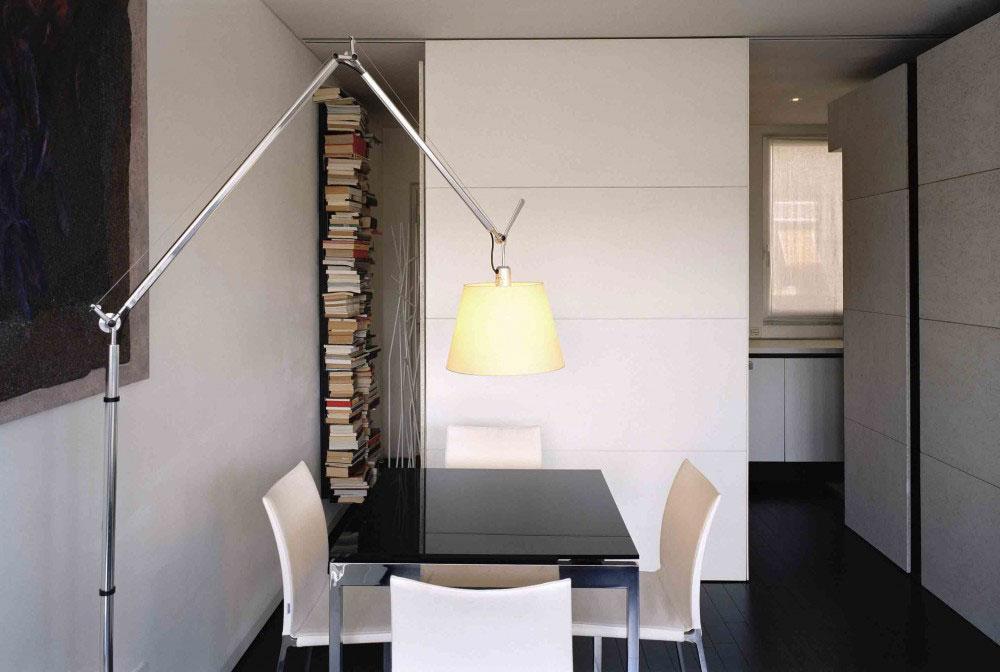 Study space in the apartment interior design in Rome.