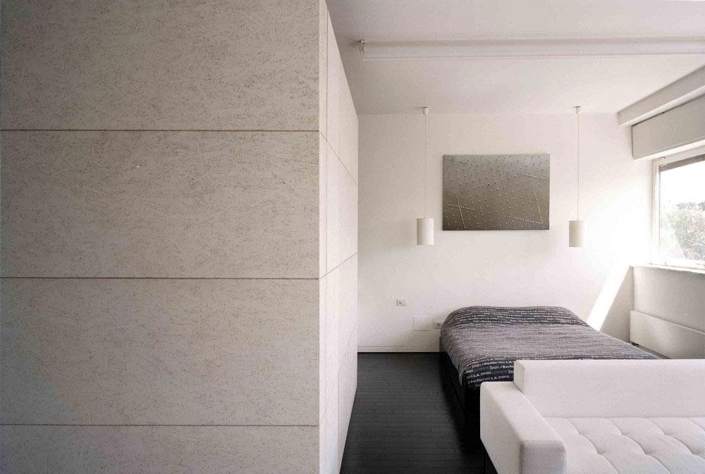 Sunny Bedroom Interior design in the apartment in Rome.