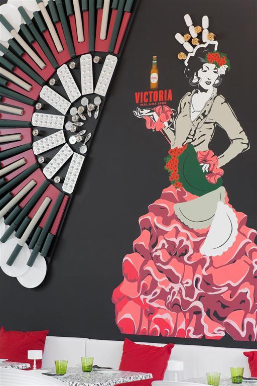 Wall Ideas - Creative Flamenco Dancer Decoration in Malaga Restaurant