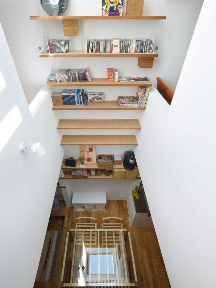 Wooden Bookshelves - Japanese Minimalist Inside a Tiny House in Nada, Japan