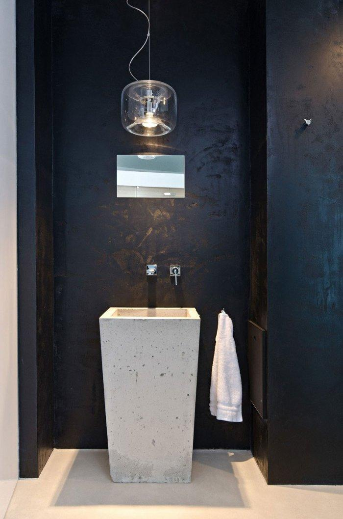 Black Contemporary Sexy Bathroom Sink Design - Concrete as a Global Apartment Interior Design Trend