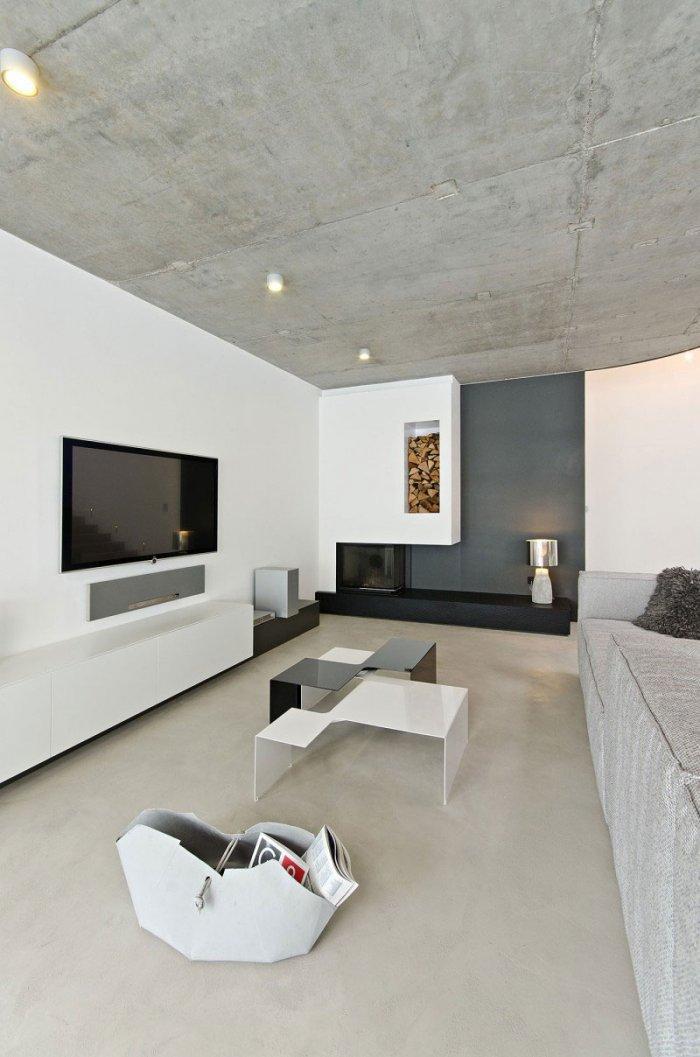Concrete Ceiling Living Room Design - Global Apartment Interior Design Trend