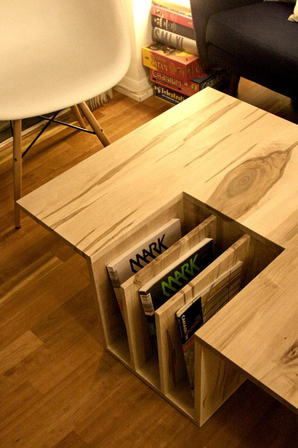 Creative Wooden Coffee Table Used As Books Holder