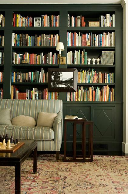 Dark Green Home Library - Green as a Decorative Accent in Home Interior Design