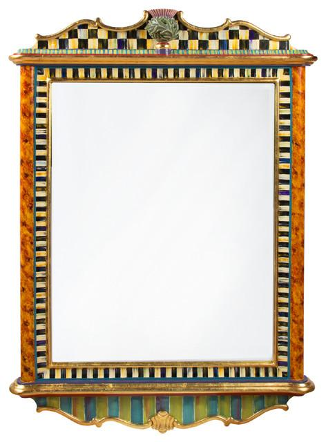 Mid Century Modern Mirror - Hand-Decorated Eclectic Furniture