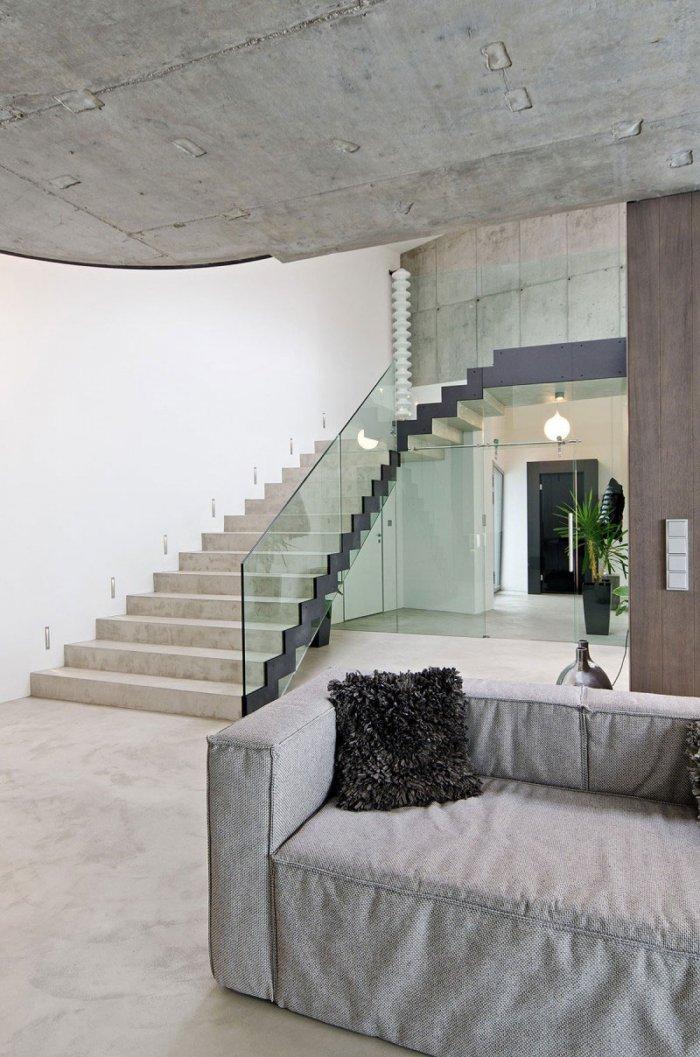 Minimalist Living Room Design - Concrete as a Global Apartment Interior Design Trend