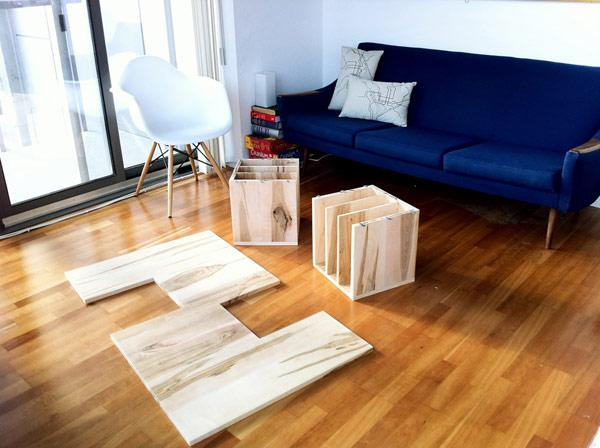 Modular Wooden Coffee Table used as Books Holder