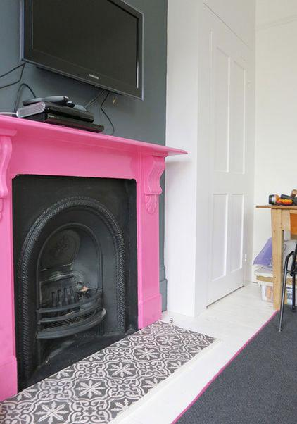 Pink Fireplace - Neat Victorian London Home with Contemporary Interior