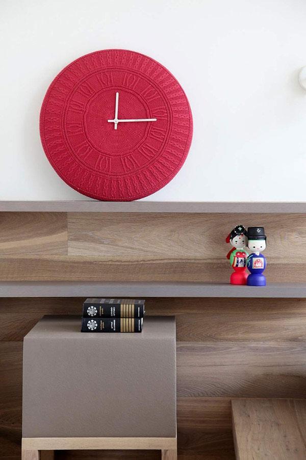 Red Wall Clock - Stylish Minimalist Penthouse Designed to Impress