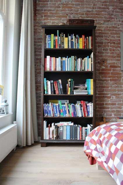 Small Home Library Design: Loft Apartment Interior Design
