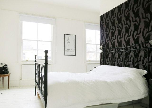 Stylish Black and White Bedroom - Neat Victorian London Home with Contemporary Interior
